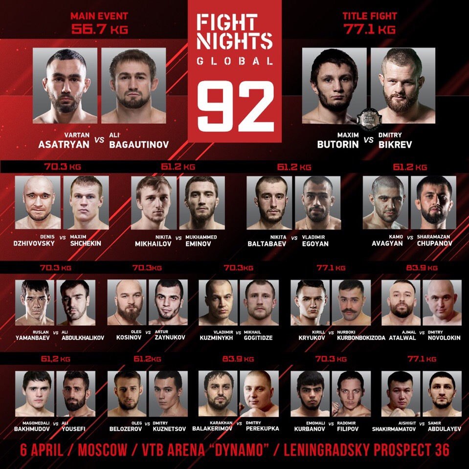 Прямая трансляция Fight Night Global 92: Багаутинов против Асатряна